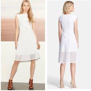 Theory Afala White Eyelet Belted Dress